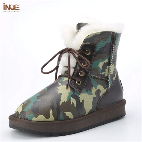 Inoe Men Lace Ankle Winter Shoes Fashion Camouflage