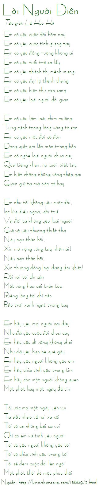 Loi Bai Hat Loi Nguoi Dien (le Huu Ha) [co Nhac Nghe]