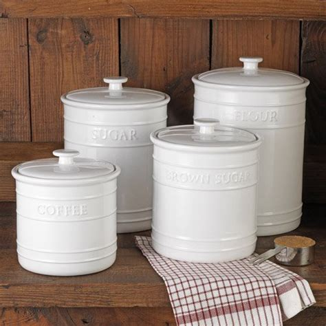 white embossed kitchen canister set  piece