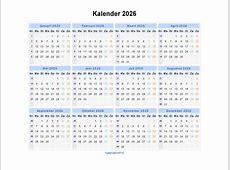 Kalender 2026 Jaarkalender en Maandkalender 2026 met