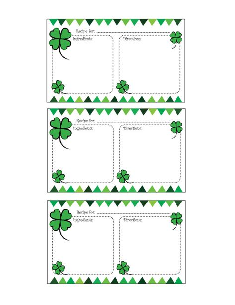 s day recipe card template free printable st s day recipe card cooking up