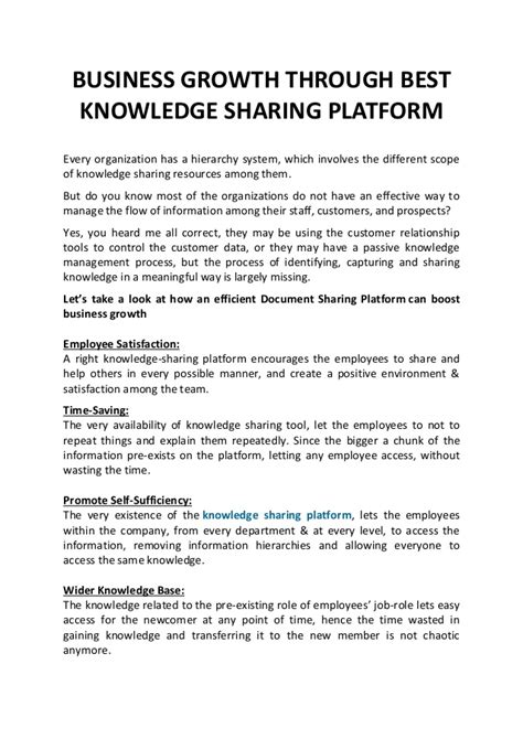 Business growth through best knowledge sharing platform ...