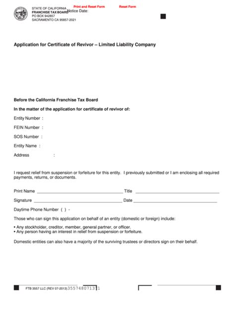 ftb revivor form fillable form ftb 3557 llc application for certificate