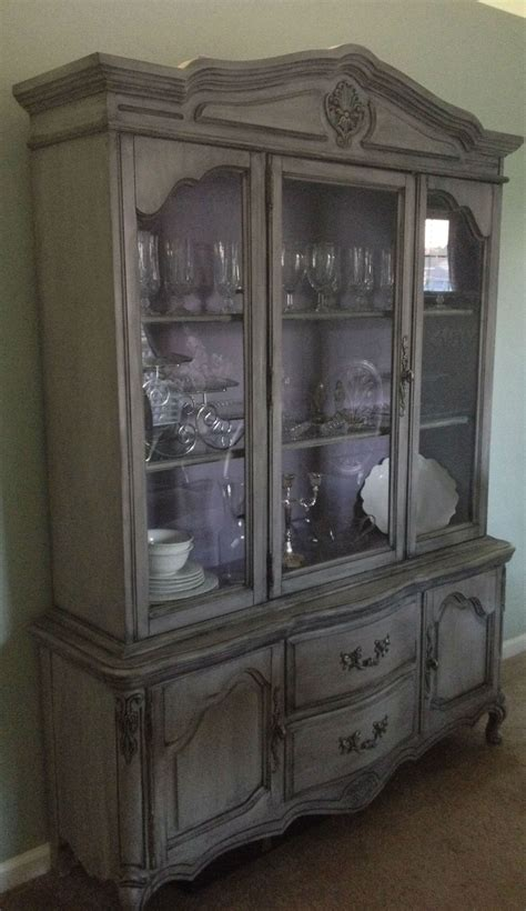 french provincial china cabinet painted french provincial china cabinet gray and purple