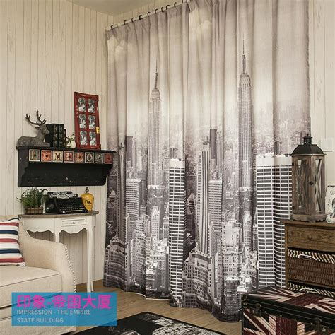 modern curtains city style iron tower empire state