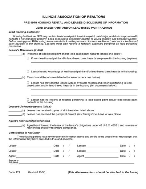 illinois association of realtors forms illinois lead based paint disclosure form free download