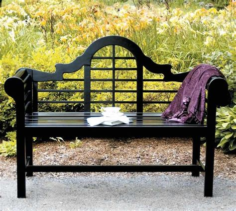 all weather black park bench w arched back traditional