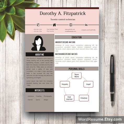 creative cv template in ms word quot doroti quot creative