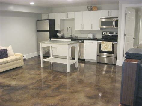 small kitchen apartment ideas decor polished concrete floors and sofa with white