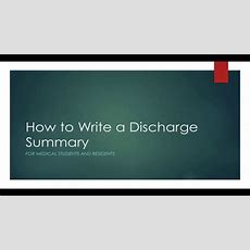 How To Write A Discharge Summary Youtube