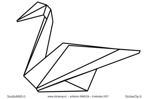 muurstickers origami dieren zwaan