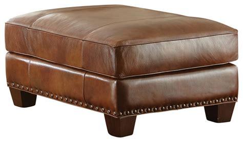 chocolate leather ottoman steve silver silverado ottoman in caramel brown leather 2186