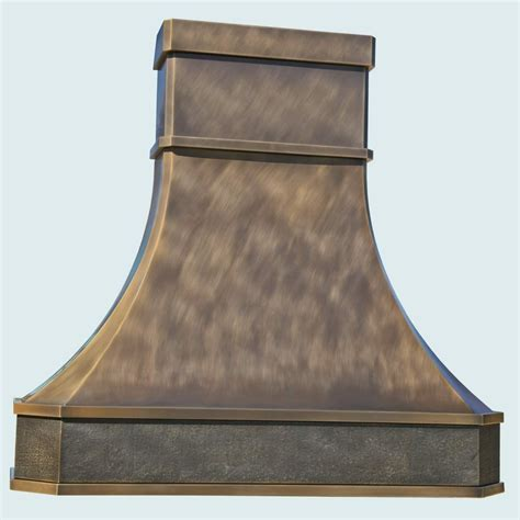 Hand Made Bronze Range Hood With Hammered Band Insert by