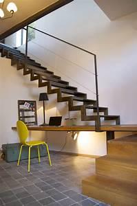 Bureau Sous Escalier : escalier cr maill re m tal et bois avec bureau int gr ~ Farleysfitness.com Idées de Décoration