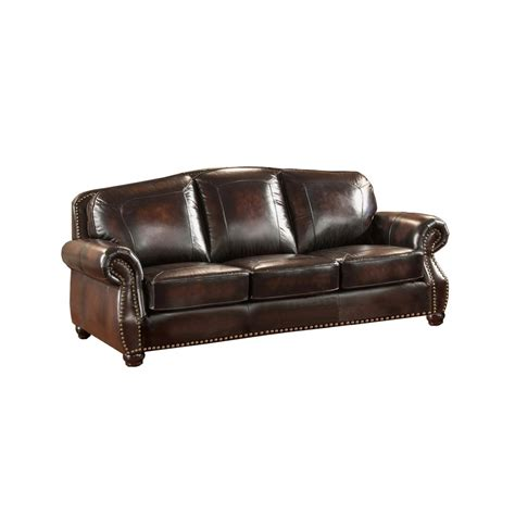 Discontinued Uttermost Ls by Hyde Top Grain Burgundy Leather Sofa With Antiqued