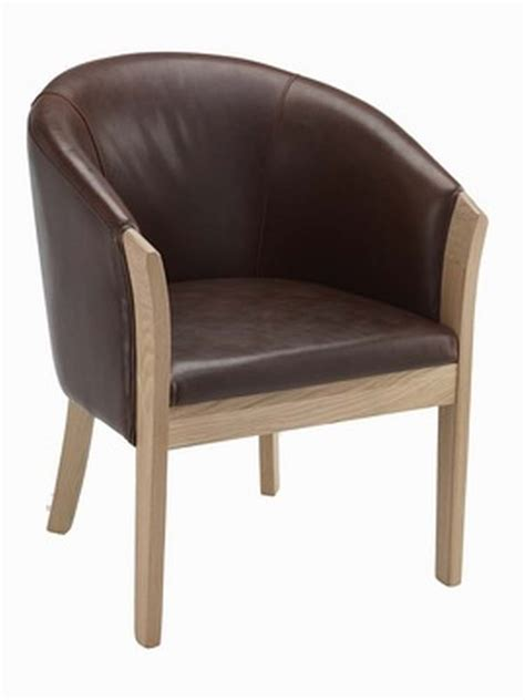 Tub Chair by Bordeaux Brown Leather Tub Chair With Light Oak Legs