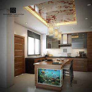 Dwell of decor 25 gorgeous kitchens designs with gypsum for Modern false ceiling design for kitchen