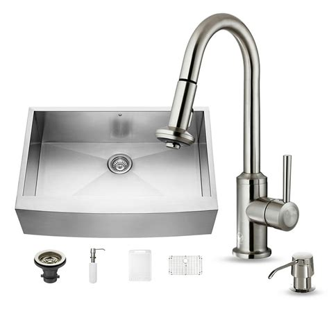farmhouse faucet kitchen vigo all in one farmhouse apron front stainless steel 33
