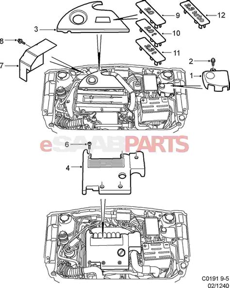 4 9 Engine Schematic by 5956958 Saab Engine Cover Saab Parts From Esaabparts