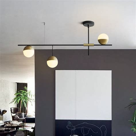 mid century modern  light linear ceiling light  black