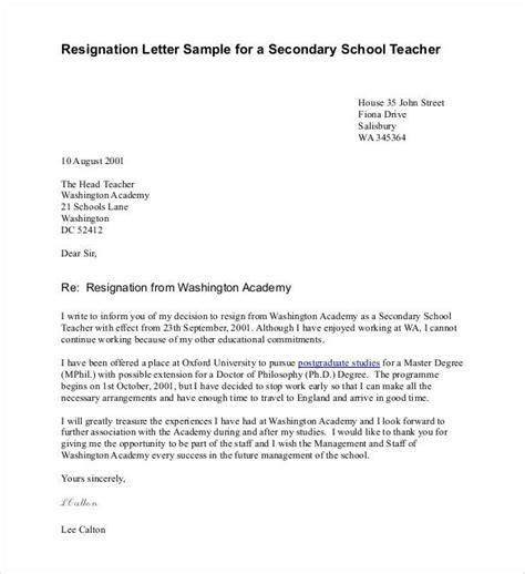 14 resignation letter templates pdf doc free 787 | Resignation Letter Sample for a Secondary School Teacher