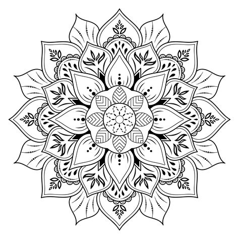 Getting the word out helps me create more free files, just like this one! Flower mandala with vintage floral outline style ...