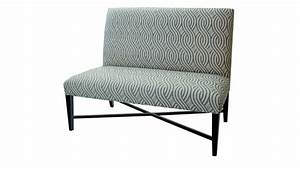 Patterned Upholstered Fabric Dining Bench With Back And