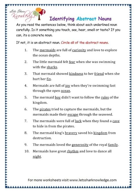 grade 3 grammar topic 1 abstract nouns worksheets lets share knowledge