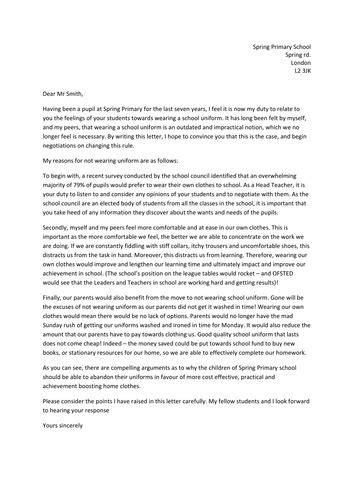 persuasive letter  ks persuasive letter format