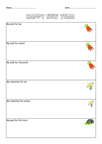 new year resolution and goal sheet by ann50 teaching