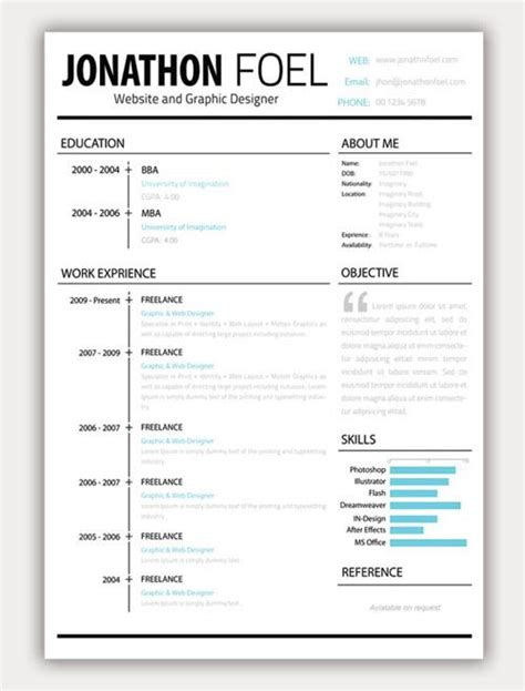 creative resume   layout objective