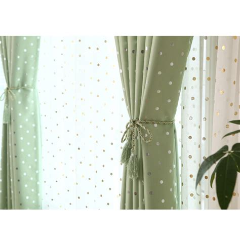 discount green poly cotton blackout polka dot curtains