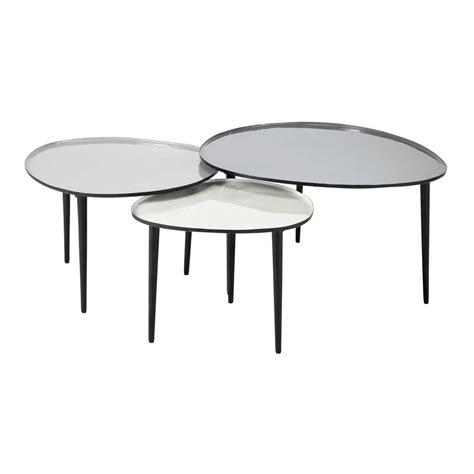 table d appoint maison du monde 3 tables basses gigognes en m 233 tal l 59 cm 224 l 75 cm galet maisons du monde