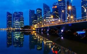 Singapore Malaysia Night Landscape Dawn Lights The City ...