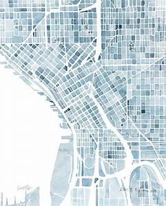 Via 10x8 Seattle Washington Blueprint City Map Watercolor