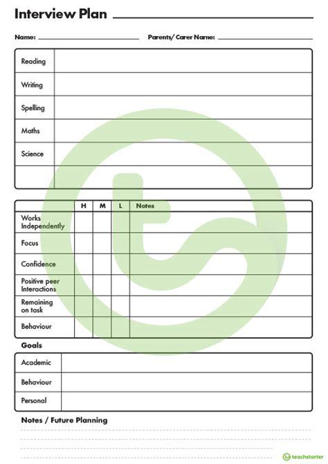 parent teacher interview planning template