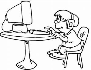 a little boy is playing on the computer coloring page With magneticfieldsensorpcbsilk electronicslab