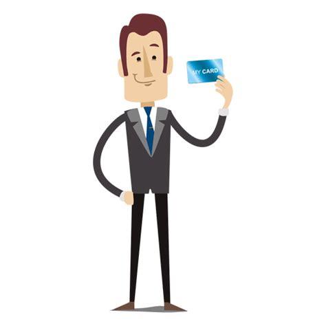 businessman cartoon holding creditcard transparent png