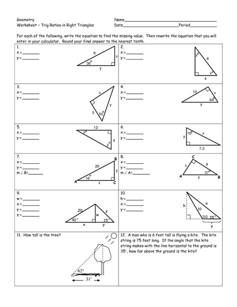 images   triangle trig worksheets