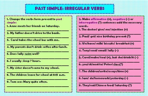 Past Simple Irregular Verbs Worksheet