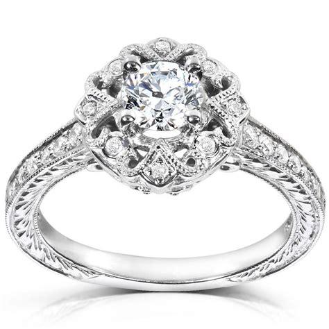 annello 14k white gold 1 2ct tdw diamond engagement ring