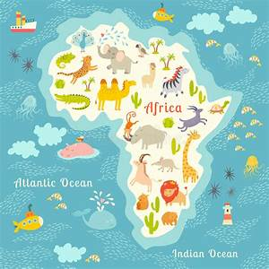 Carte Du Monde Enfant : carte du monde d 39 animaux afrique belle illustration color e gaie de vecteur pour des enfants et ~ Teatrodelosmanantiales.com Idées de Décoration