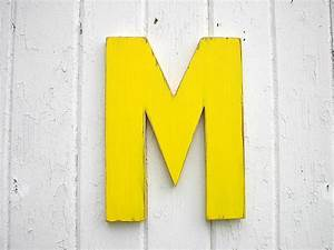 kids wooden wall decor letter m 12 inch yellow nursery wall With wooden letter m for wall