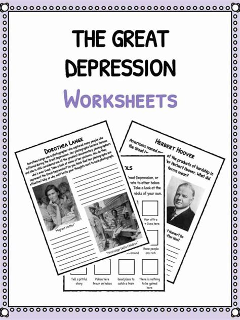the great depression facts information worksheets for