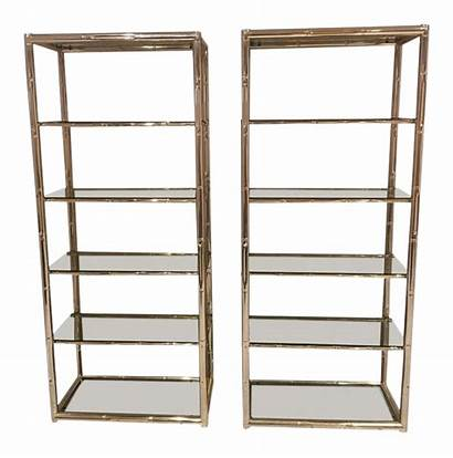 Display Shelves Etagere Brass Chairish Bamboo Faux