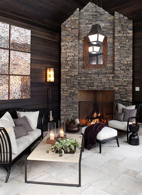 stone veneer fireplace living room contemporary  beams