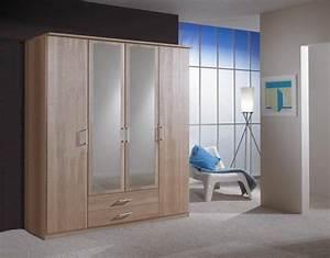 Armoire 4 Portes : armoire 4 portes dont 2 miroirs 2 tiroirs oskar chene ~ Teatrodelosmanantiales.com Idées de Décoration