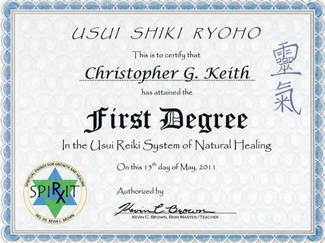 Reiki Level 1 Certificate Template by Education Certificates Triangle Energetics