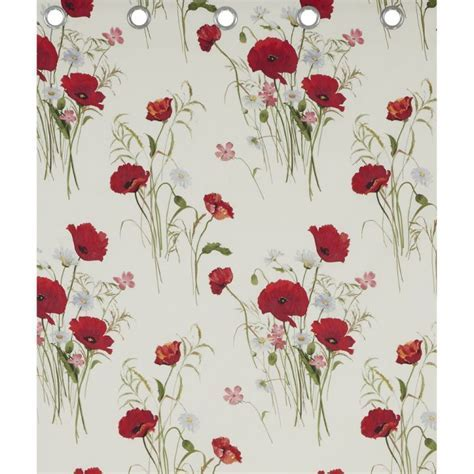 Wild   Poppies   Red & Cream   Ring Top Curtains   Tonys