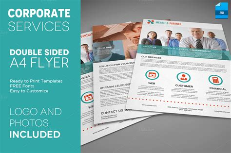 4 sided brochure template a4 double sided corporate flyer flyer templates on